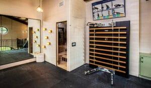 Forbes Magazine design home gym with Fitness Design Group Technogym sauna gym floor