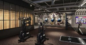 luxury gym design with mood lighting turf boxing assault bikes gym flooring