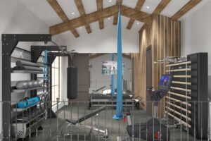 home gym design in loft space 3D rendering concept