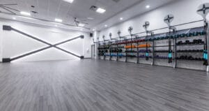 mountainside fitness group studio for functional training classes using gym rax