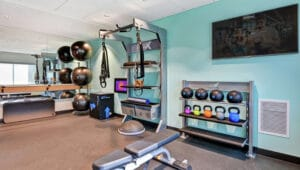 tru by hilton fitness center gym designed by aktiv solutions with gym rax functional training and gym storage