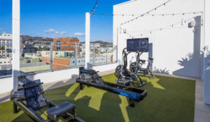 Outdoor Fitness Rooftop Hotel with Turf Flooring Functional Training Equipment and AktivTV