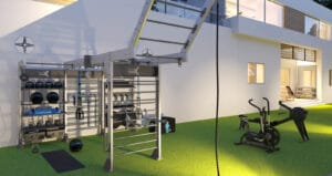 Outdoor fitness home gym design concept with gym rax in miami beach