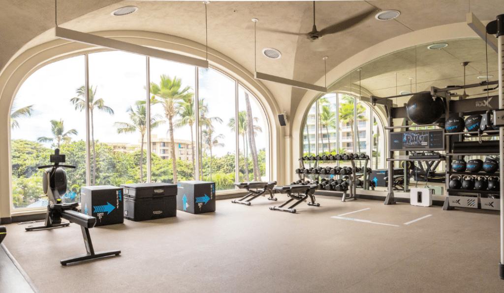Fairmont Hotel Gym Design with Gym Rax Ecore Gym Flooring aktiv functional fitness equipment